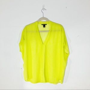 Victoria's Secret Neon Yellow Sheer Blouse